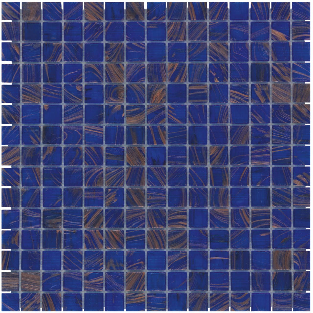 Quartz Glass Mosaic Tile Sheet Amsterdam Medium Blue Gold Dust, Box ...