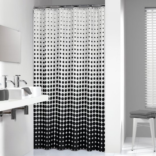 Shower Curtain Sealskin Speckles Black Fabric