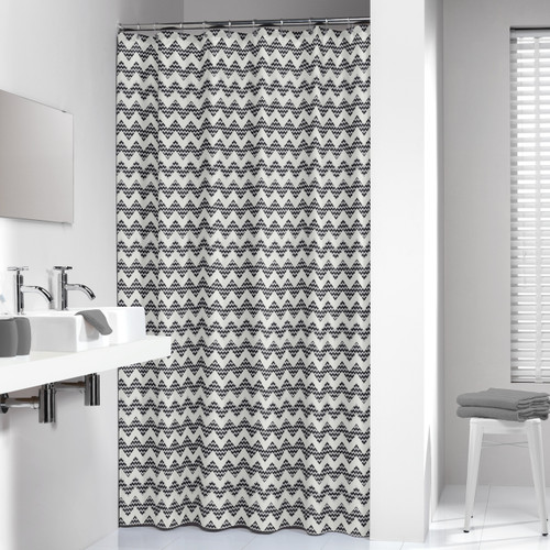 Extra Long Shower Curtain 72 x 78 Inch Sealskin Chevron Beige Fabric