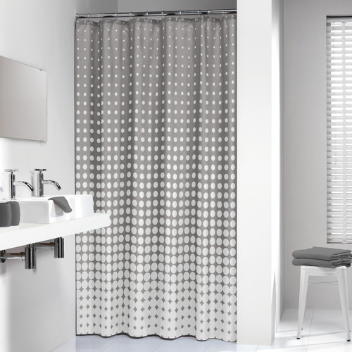 Extra Long Shower Curtain 72 x 78 Inch Sealskin Chevron Beige Fabric