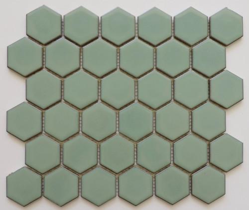 Glazed Porcelain Mosaic Tile Sheet Barcelona 2x2 Hexagon Glossy