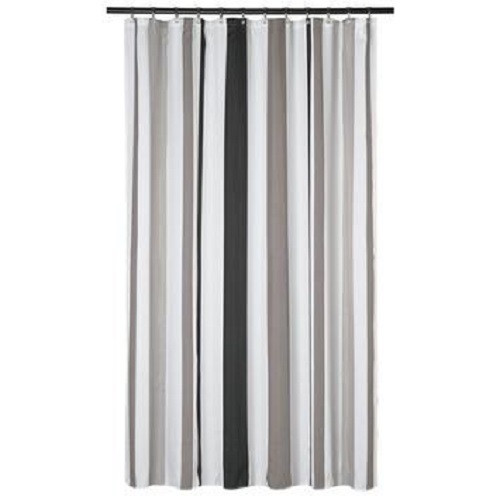 Beau Extra Long Shower Curtain 72 X 78 Inch Gamma Gray And Taupe Stripes Fabric