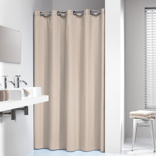 Extra Long Hookless Shower Curtain 72 X 78 Inch Sealskin Coloris Beige  Cotton
