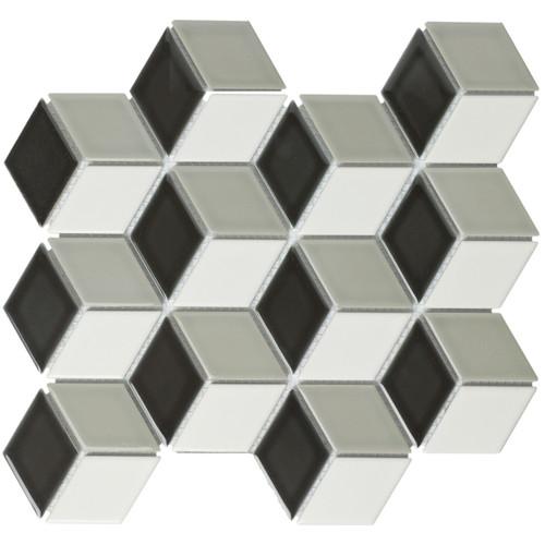 Glazed Porcelain Mosaic Tile Sheet Paris 19x32 Rhombus Glossy