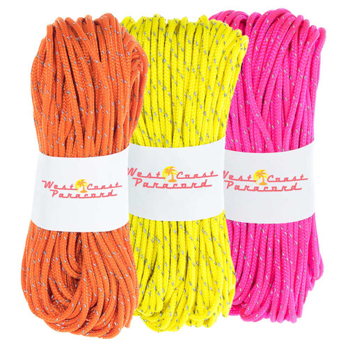 3 Pack 95 Reflective Cord - 20M each - Neon Pink Neon Orange Neon Yellow