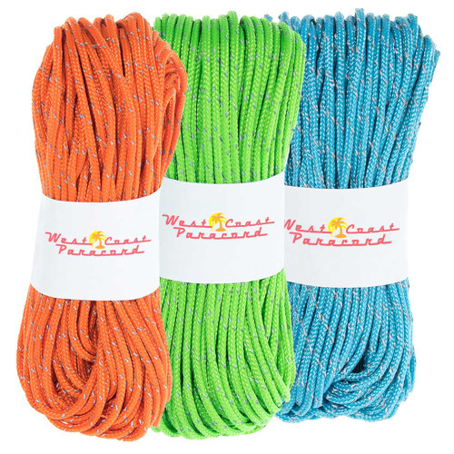3 Pack 95 Reflective Cord - 20M each - Neon Green Neon Orange Neon Turquoise