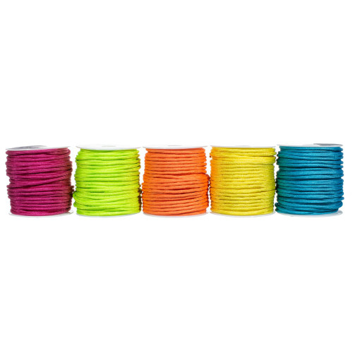 5 Spools of 100 Feet of 550 Polyester Paracord - Neon