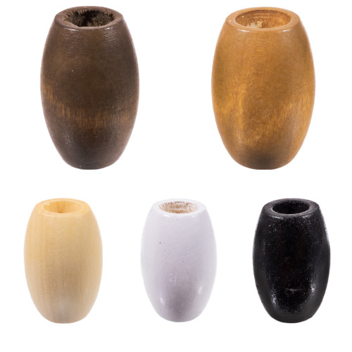 Oval Wooden Beads - 10 MM Hole - 6 Pieces