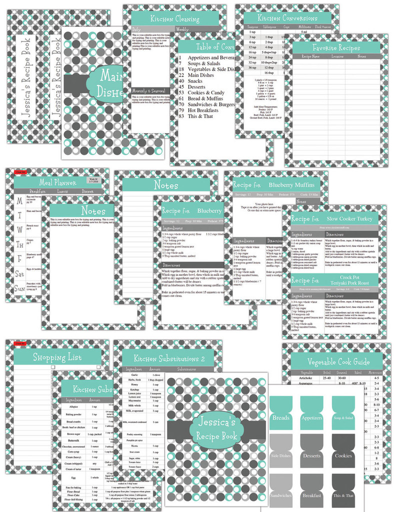 Retro Turquoise Printable Recipe Book Template Editable PDF