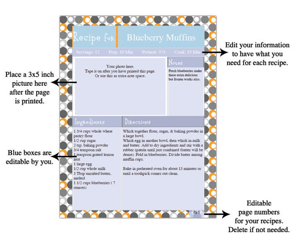 Retro Orange Printable Recipe Book Template Editable PDF - How to make a pdf template editable