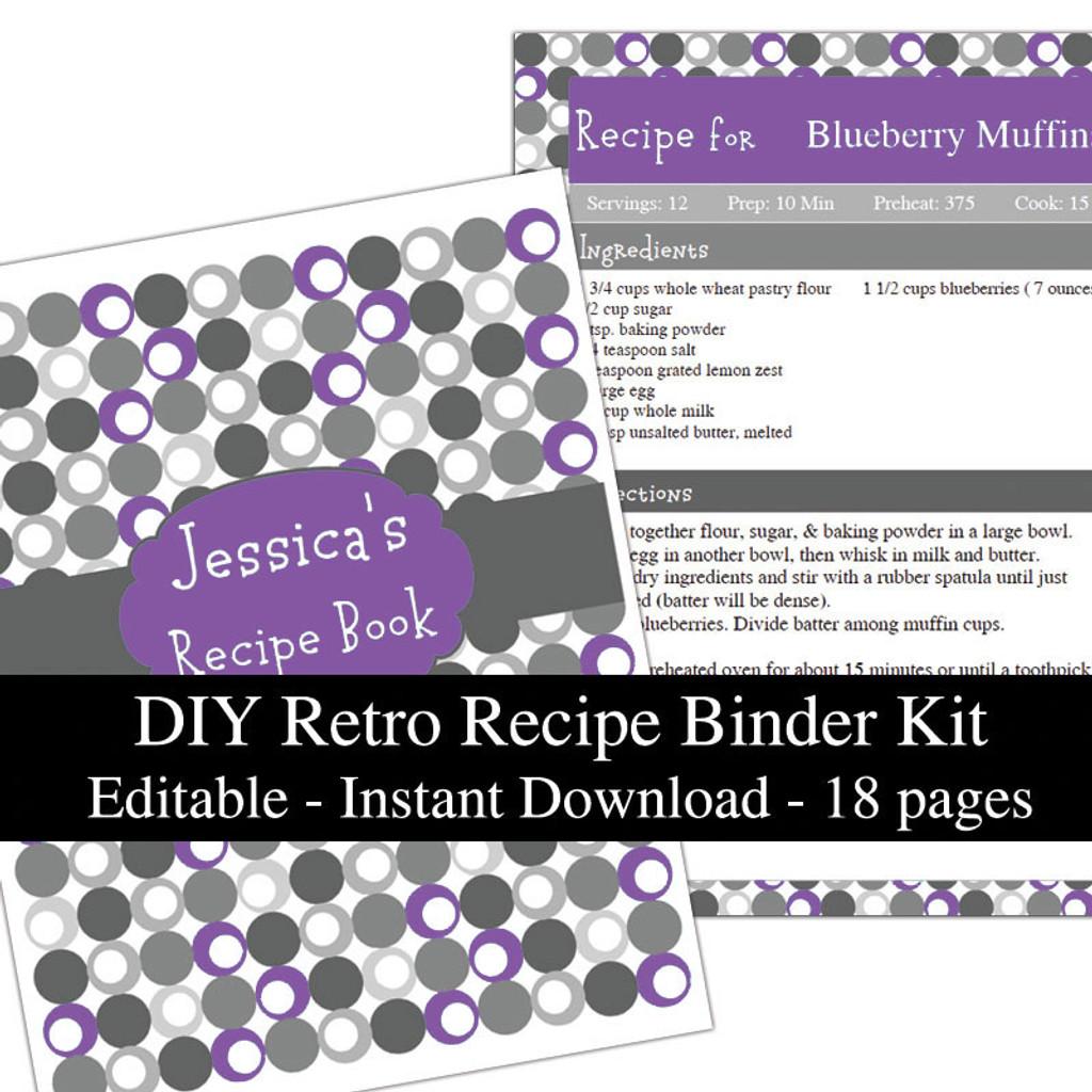 Retro Purple Printable Recipe Book Template Editable PDF