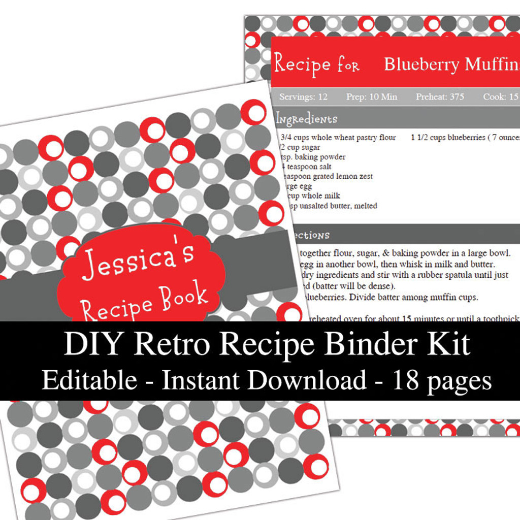 Retro Red Printable Recipe Book Template Editable PDF