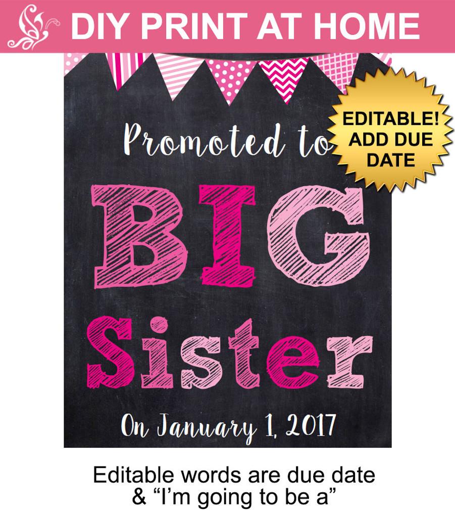 Big sister pink pregnancy announcement sign printable ...