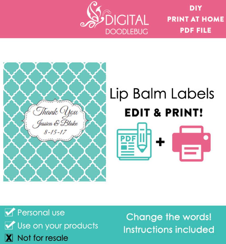 Teal Quatrefoil Printable Lip Balm Labels