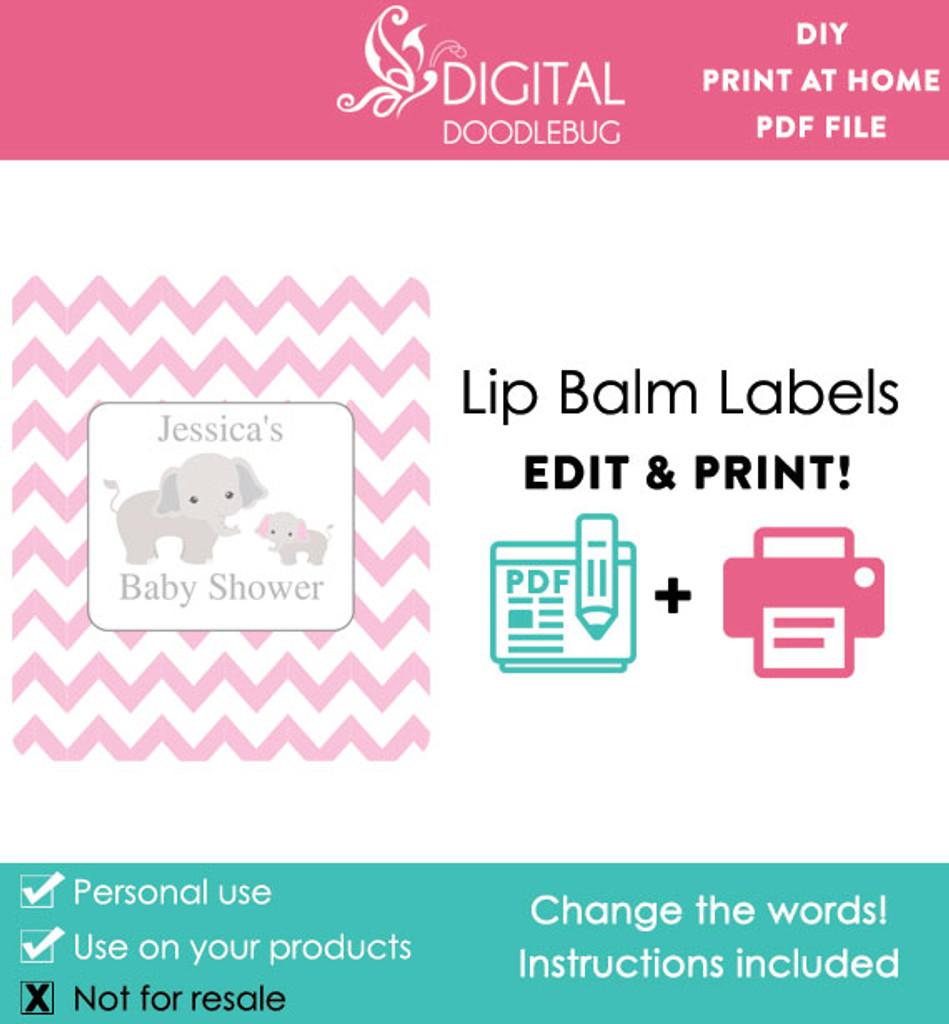 Elephant Pink Printable Lip Balm Labels