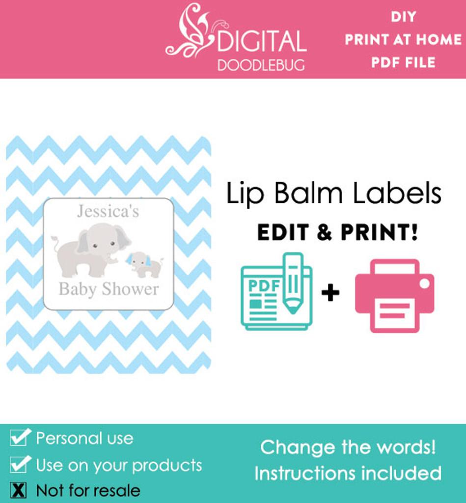 Elephant Blue Printable Lip Balm Labels