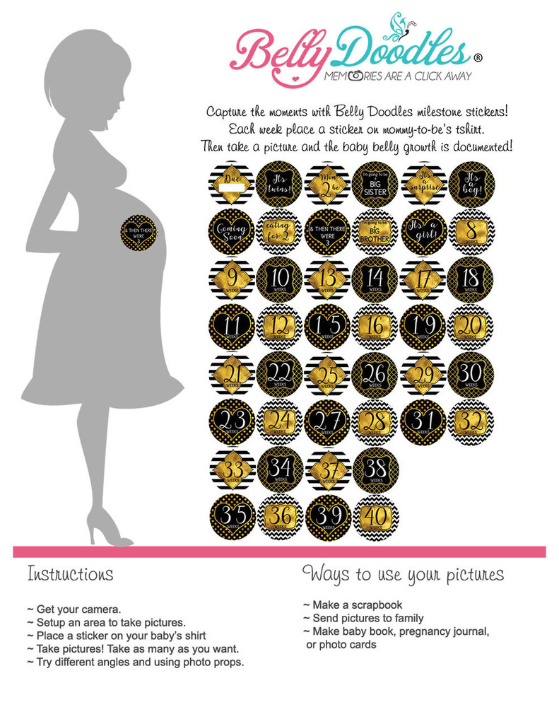 Black & Gold 44 Weekly Pregnancy Stickers