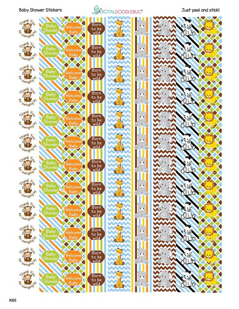 Jungle Animals Mini Candy Stickers Baby Shower Favors 108 Labels