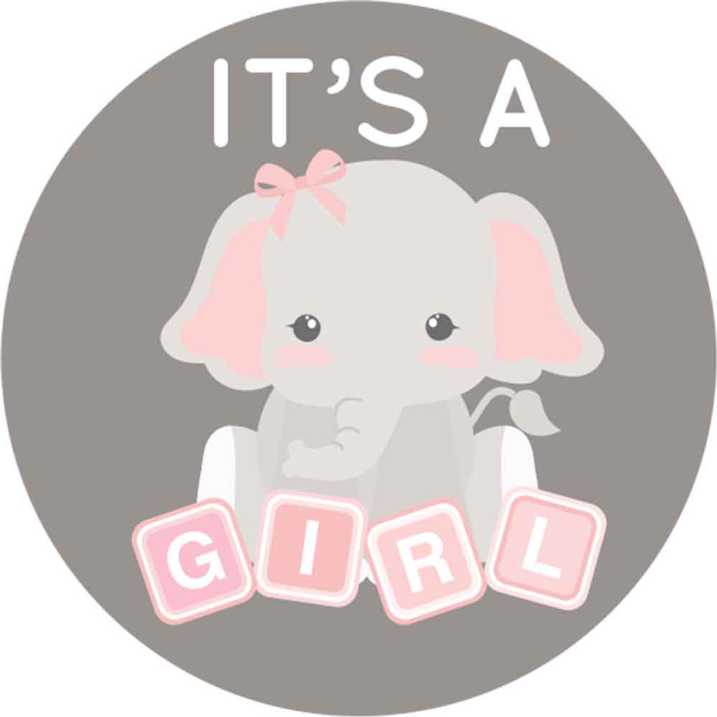 Pink & Gray Elephant 2 Inch It's a girl stickers 20 Labels