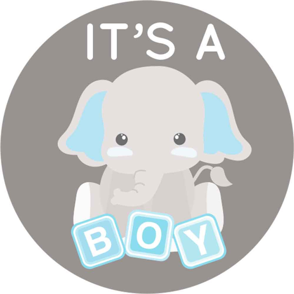Blue & Gray Elephant 2 Inch It's a boy stickers 20 Labels