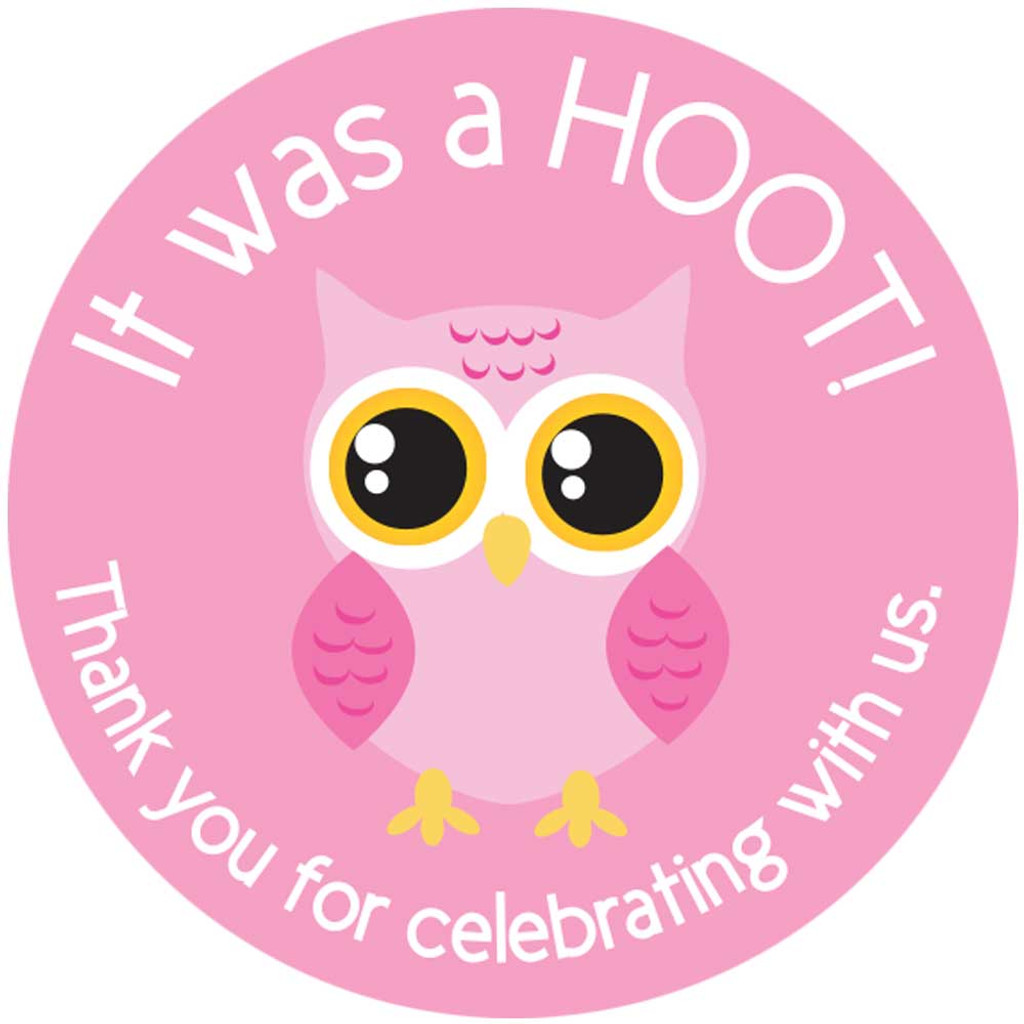 Pink Owl 2 Inch thank you stickers 20 Labels