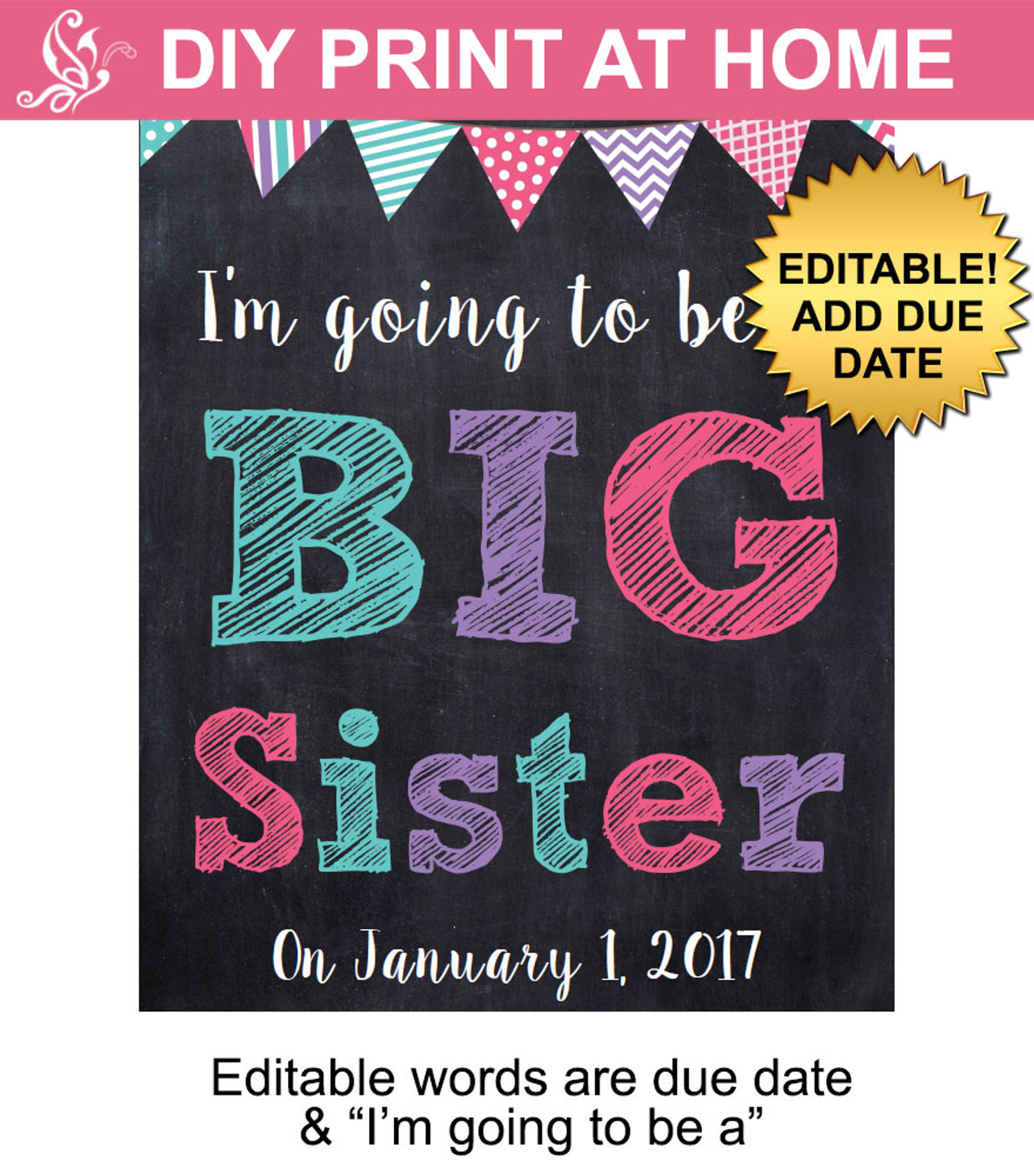 Big sister pregnancy announcement sign printable poster ...