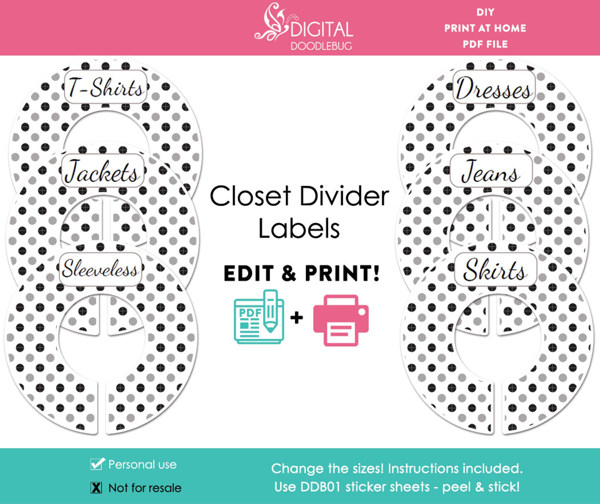 Black & gray polka dot printable closet dividers baby or adult ...