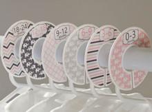 Pink & Gray Elephant baby closet dividers