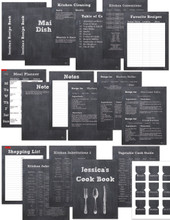 Chalkboard 32 page Printable Recipe Book Template Editable PDF