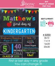 Editable Blue School Sign Printable Poster