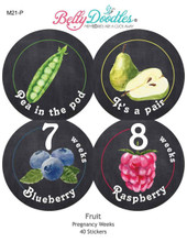 40 Fruit Themed Weekly Baby Stickers