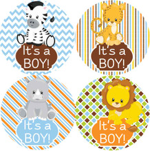 Jungle Animals 2 Inch It's a boy stickers 20 Labels