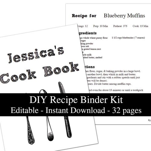 Chalkboard 32 page Printable Recipe Book Template Editable PDF