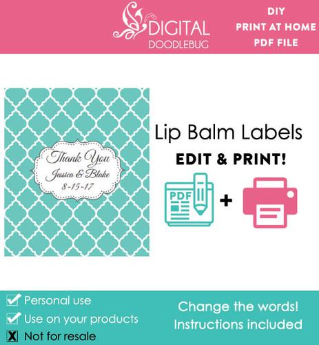 Aqua Quatrefoil Printable Lip Balm Labels