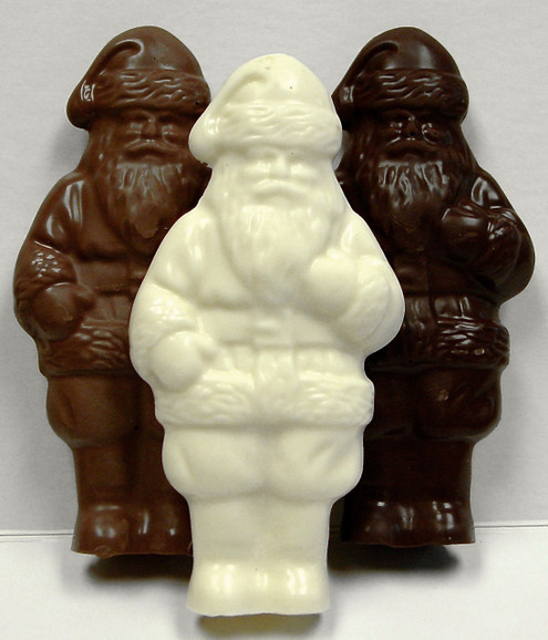 6 inch Tall Santa Claus, Sugar free Solid Chocolate, 3-D, (about 5.5 oz) Handmade, Individually Wrapped