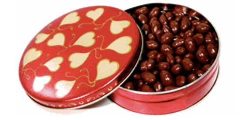 6 inch Gift Tin Filled with 16 oz of our Finest Sugar Free Milk Chocolate Covered Nuts