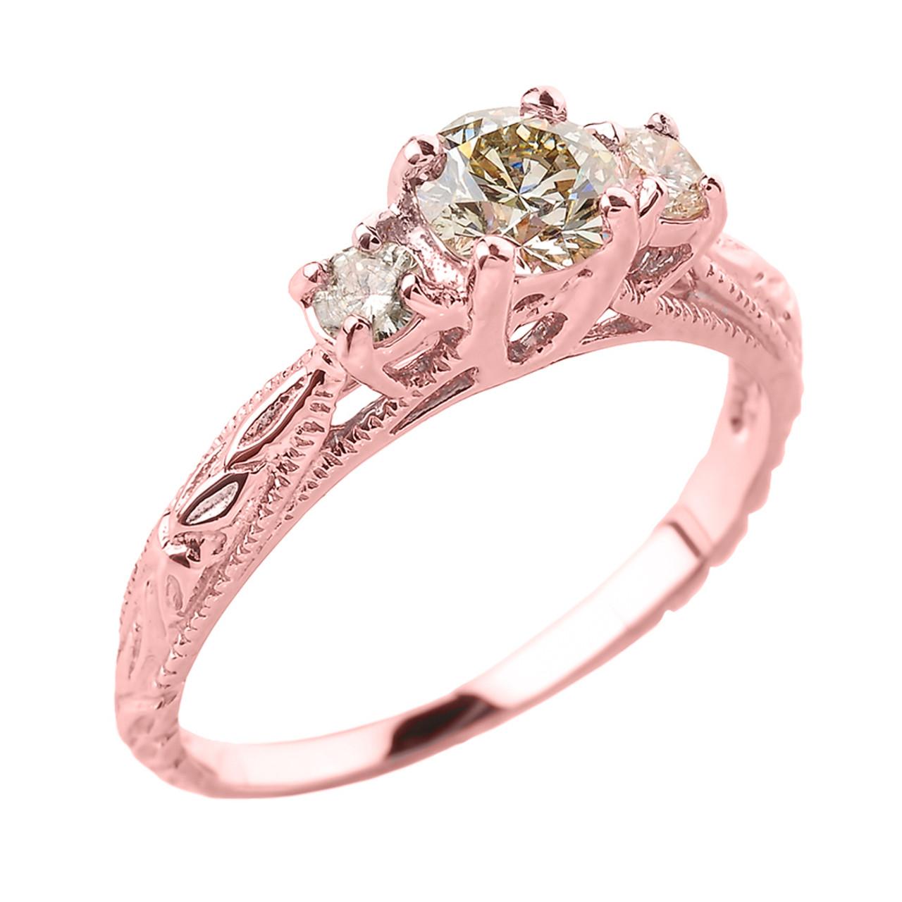 14k White Gold Art Deco 3 Stone Diamond Engagement Wedding Ring