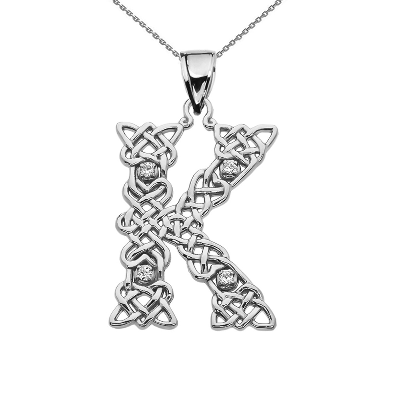Cz k initial in celtic pattern sterling silver pendant necklace k initial in celtic knot pattern sterling silver pendant necklace with cz mozeypictures