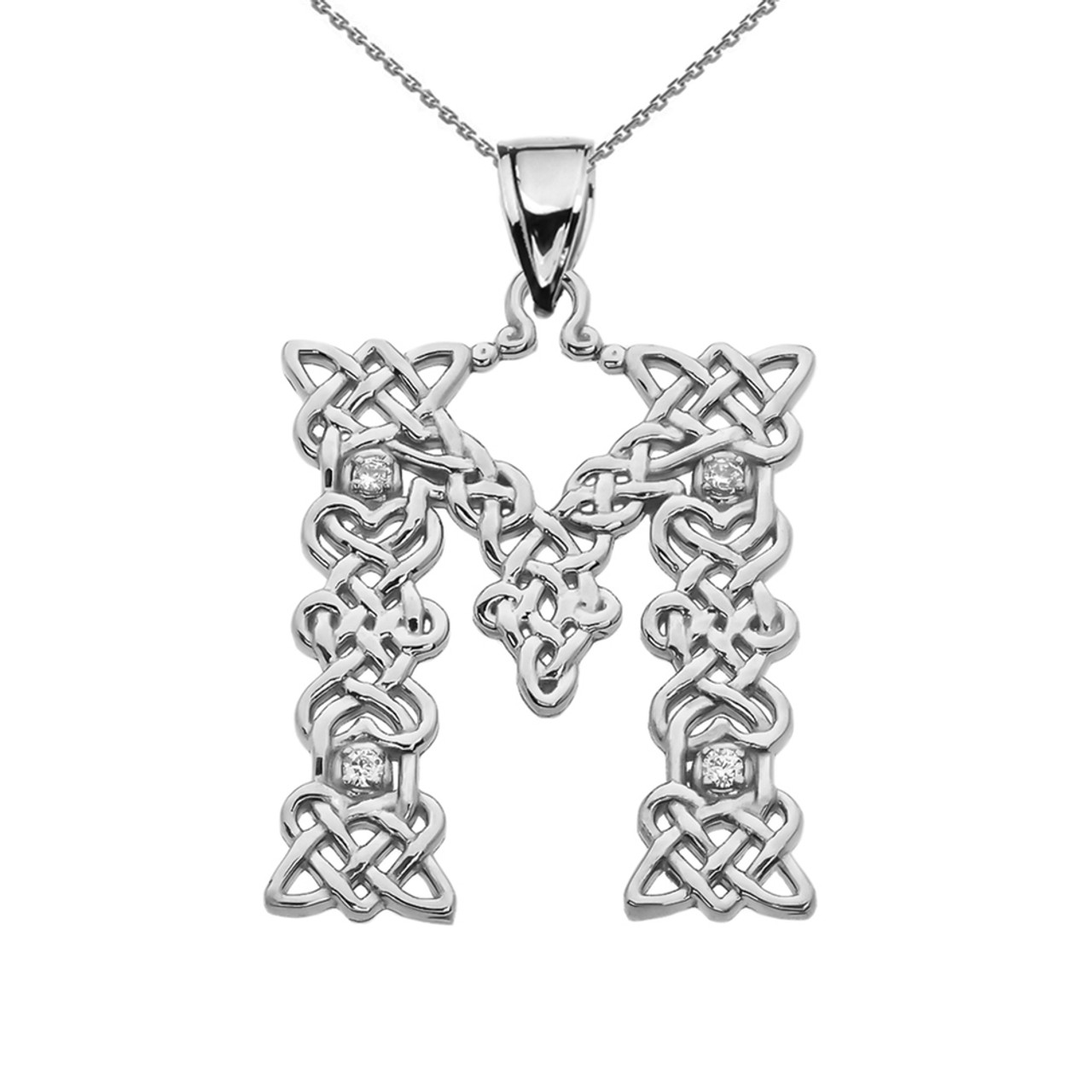 Cz m initial in celtic pattern sterling silver pendant necklace m initial in celtic knot pattern sterling silver pendant necklace with cz aloadofball Gallery