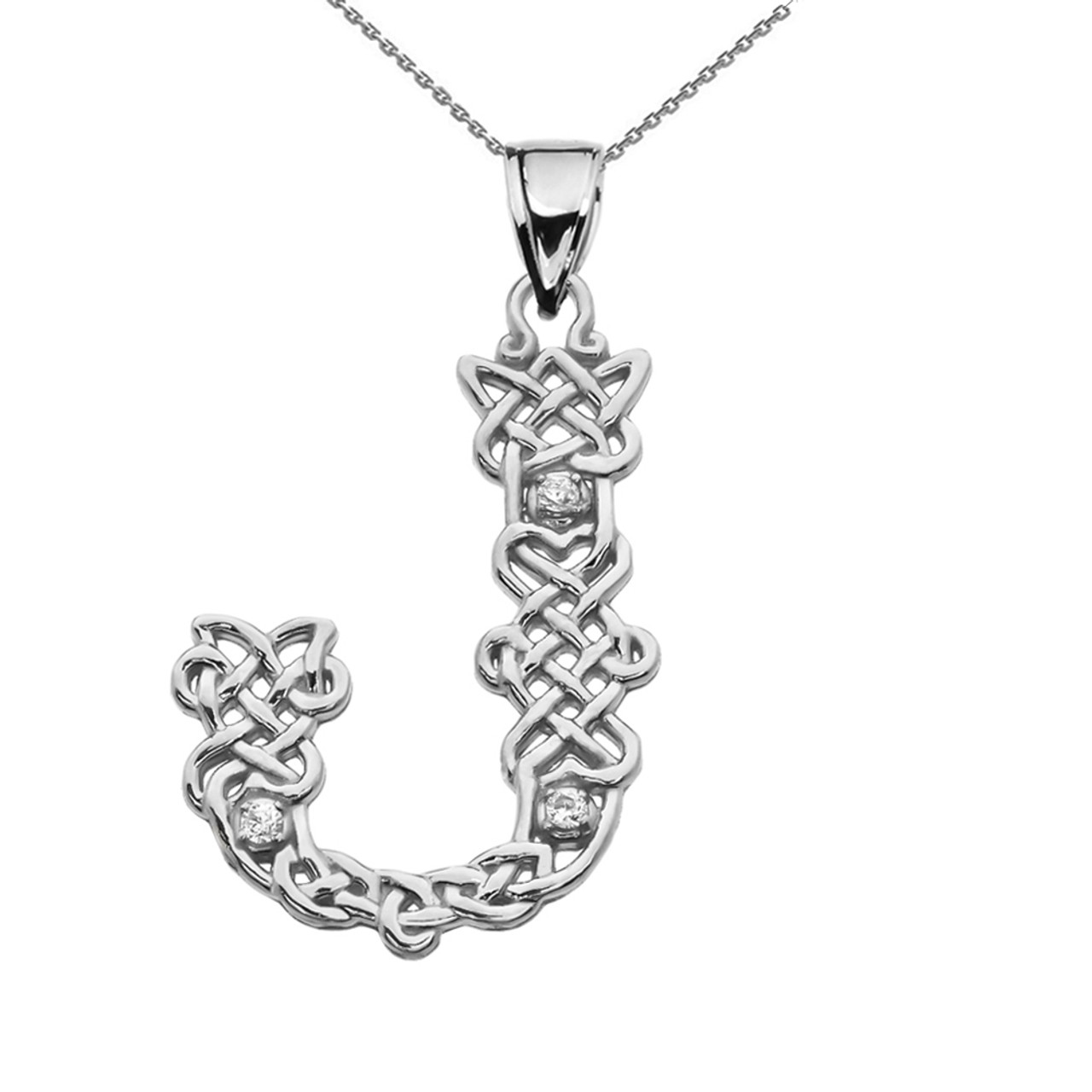 Cz j initial in celtic pattern sterling silver pendant necklace j initial in celtic knot pattern sterling silver pendant necklace with cz aloadofball Images