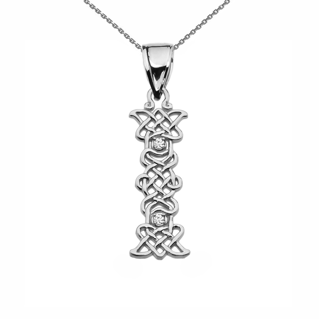 Cz i initial in celtic pattern sterling silver pendant necklace i initial in celtic knot pattern sterling silver pendant necklace with cz mozeypictures