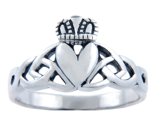 Silver Claddagh Trinity Ring for Ladies