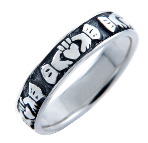 Silver Claddagh Eternity Band Ladies Ring