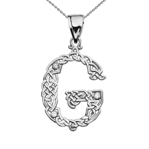 """G"" Initial In Celtic Knot Pattern Sterling Silver Pendant Necklace With CZ"