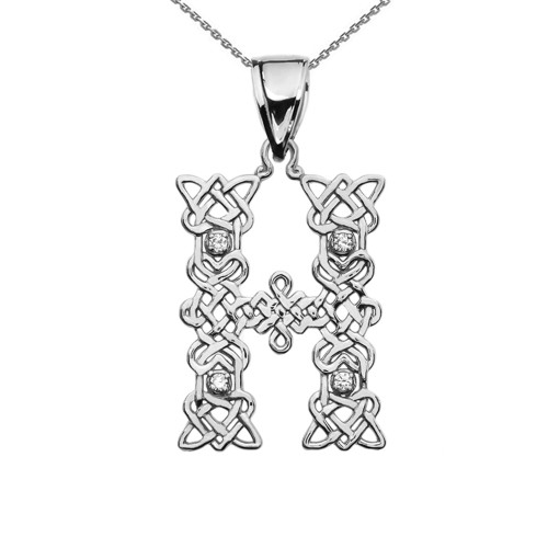 """H"" Initial In Celtic Knot Pattern Sterling Silver Pendant Necklace With CZ"
