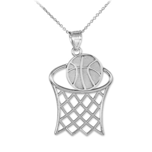 Pendants necklaces sports pendants page 1 claddagh silver basketball hoop silver sports pendant necklace aloadofball Image collections