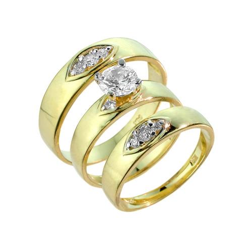 Gold Cubic Zirconia 3 Piece Wedding Ring Set