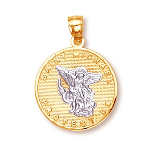 Pendants necklaces saints charms page 1 claddagh silver two tone gold saint michael pendant aloadofball Choice Image