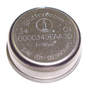 The rugged DS1990A-F5 ID iButton has a unique electronic registration number for automatic identification.