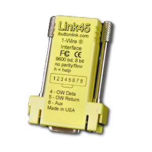 The Link45 is a smart 1-wire master with a serial (RS232) interface. It adapts its signals to deal with long and difficult 1‑Wire networks that would defeat standard adapters.